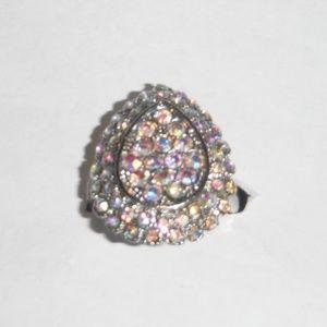 Sparkling Gemstones Pear Shaped Ring